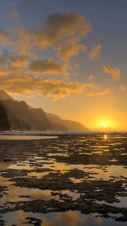 Hawaii Desktop Wallpaper Hd Kee Beach Sunset Na Pali Coast Kauai Hawaii Wallpaper