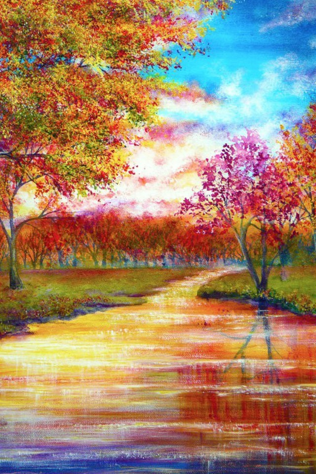 Best Hd Wallpapers For Mobile Screen Trees September Rivers Vibrant Colors Wallpaper