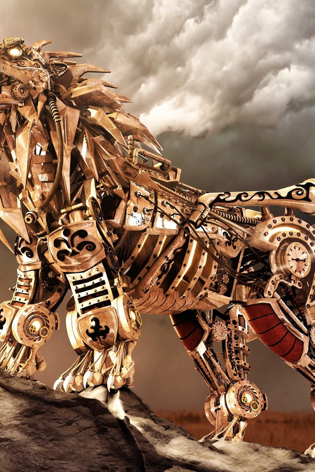 Lion Animal Wallpaper 3d Robots Digital Art Lions Mechanical Creature Wallpaper