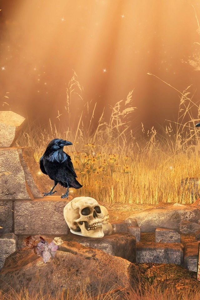 Gothic Wallpaper For Iphone Autumn Dawn Gothic Digital Art Morning Crows Raven