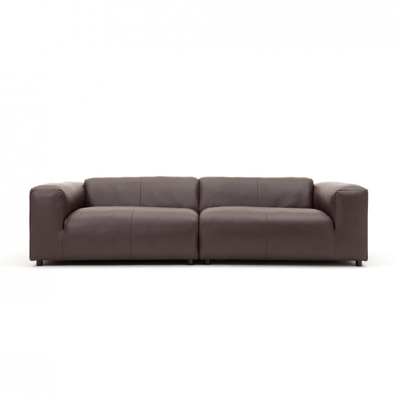 Ledersofa Schwarz Freistil 187 3 Seater Leather Sofa