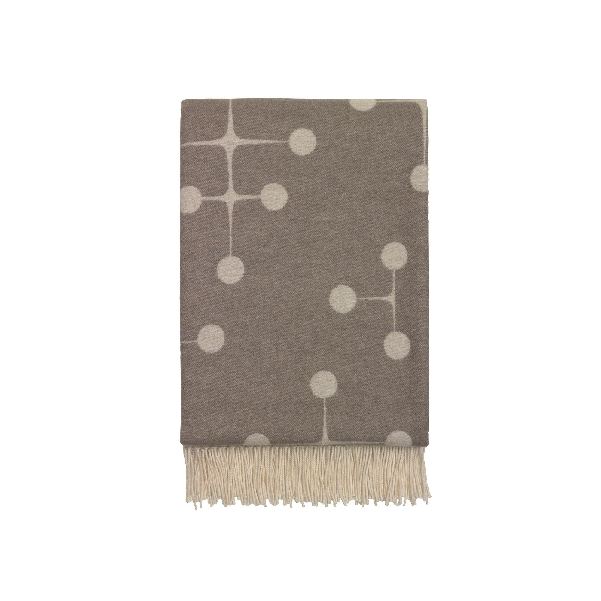 Wolldecke Taupe Dot Pattern Wool Blanket