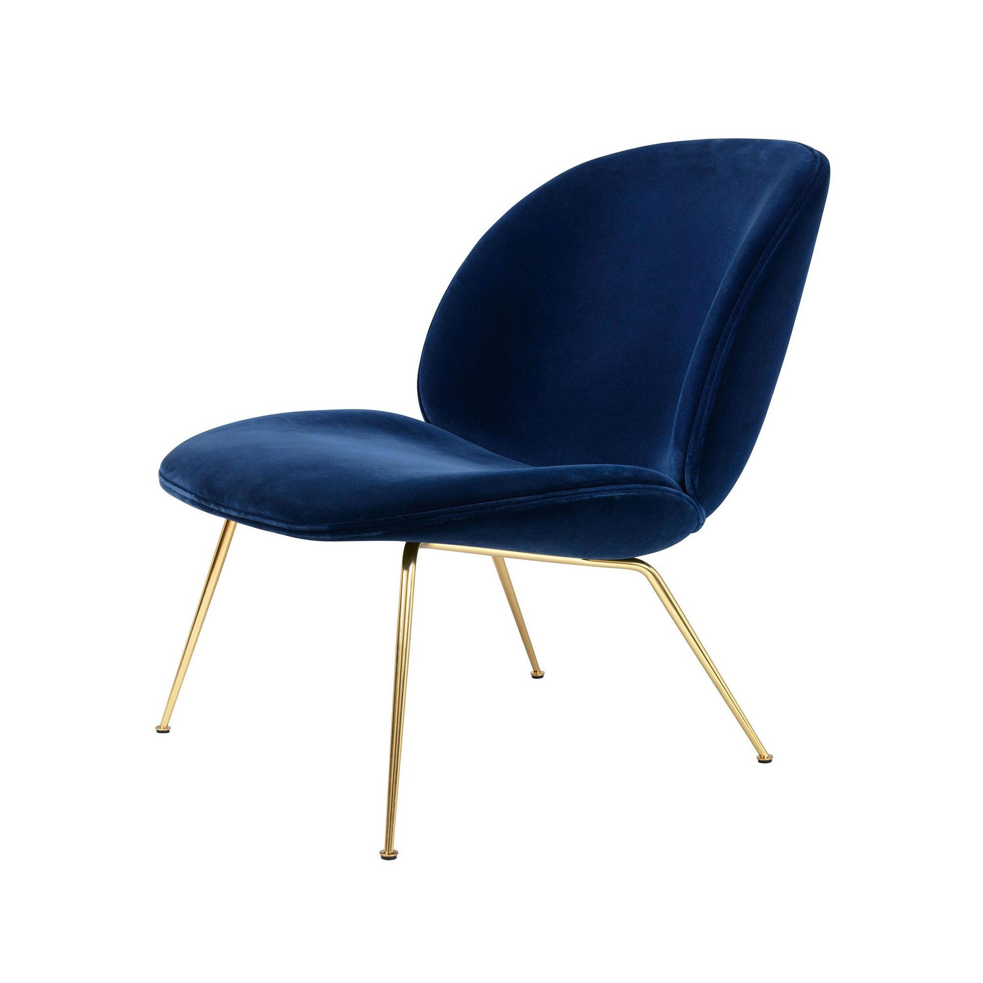 Gubi Sessel Beetle Gubi Beetle Lounge Chair Velvet Brass Base | Ambientedirect