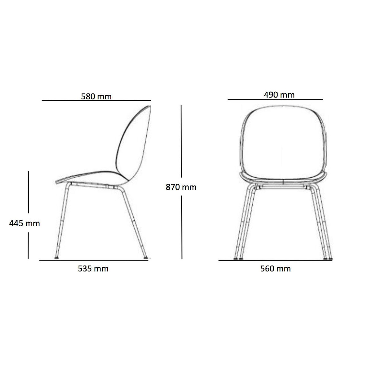 Eames Chair Drawing Beetle Dining Chair Black Base Gubi Ambientedirect