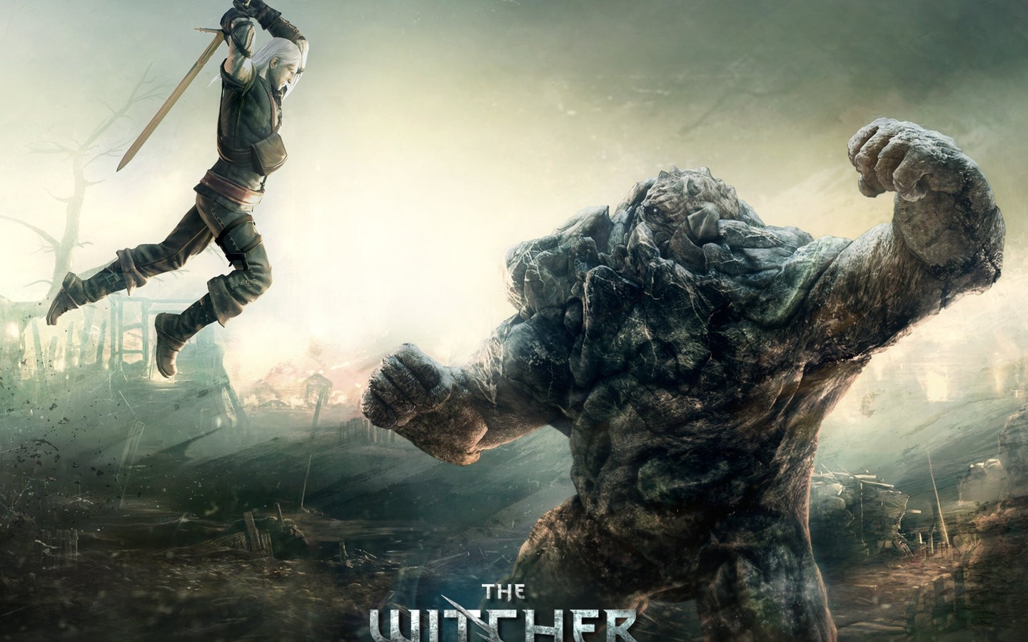 Mecha Girls Wallpaper Duel Golem Geralt Of Rivia The Witcher 2 1440x900