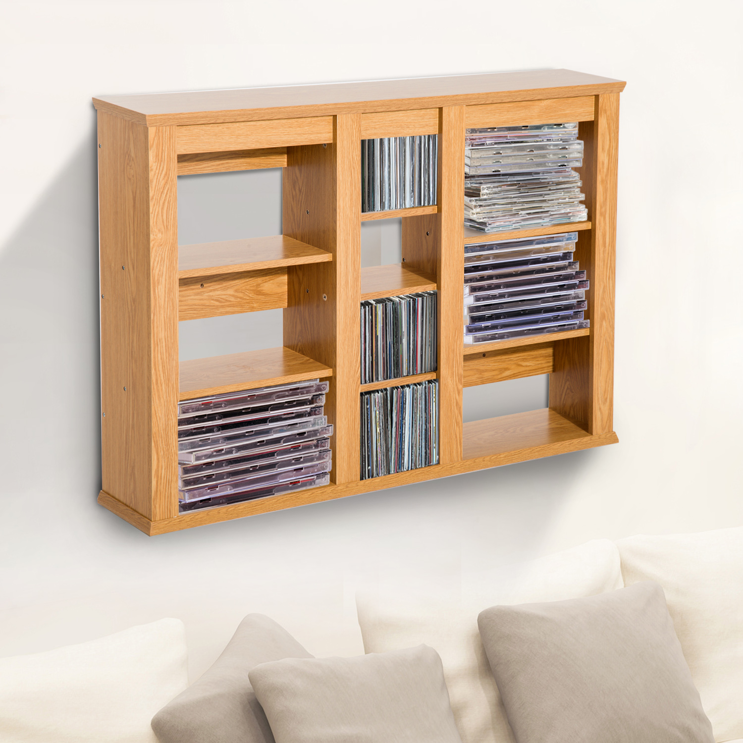 Wall Mounted Shelves Canada Cad 69 99 Homcom Triple Wall Mounted Media Storage Floating Cd