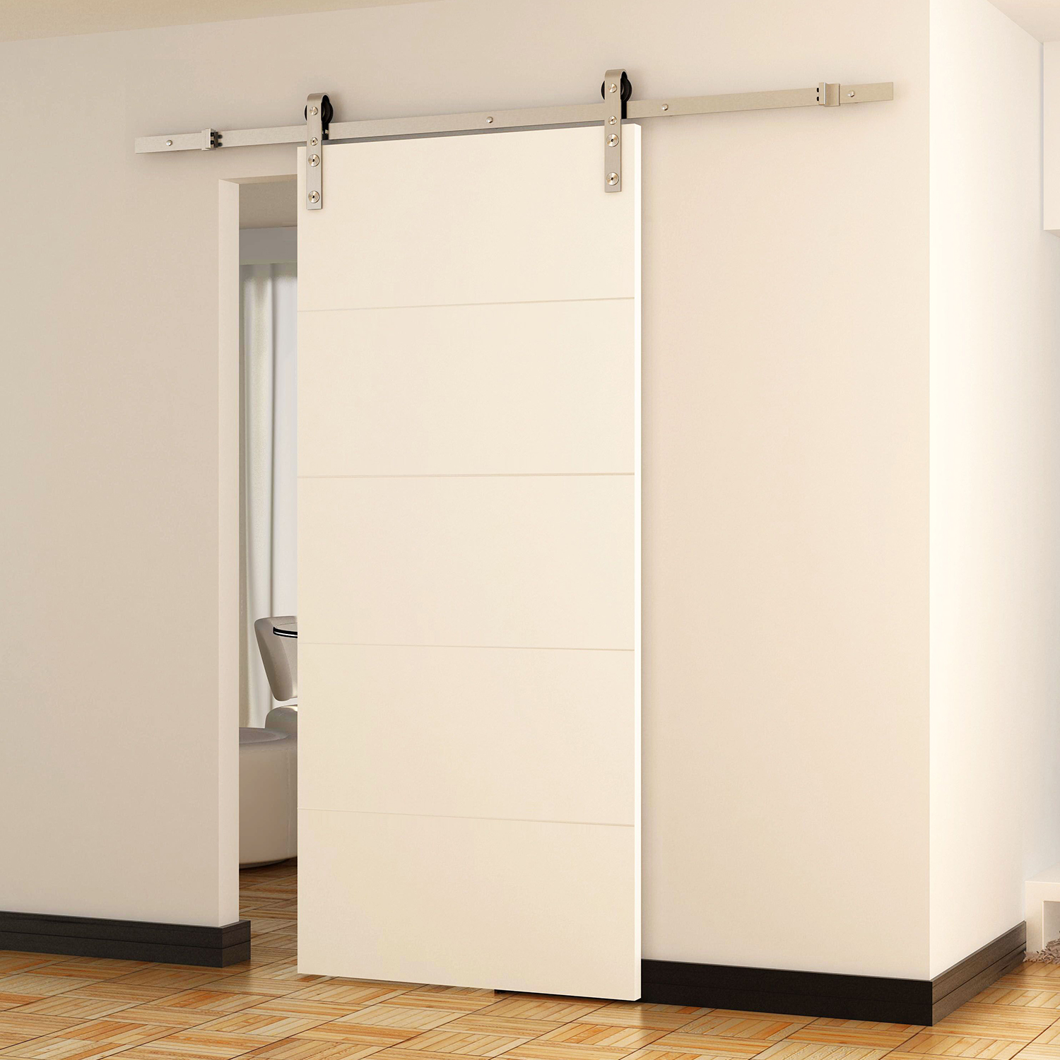 Cad 116 99 Homcom 8ft Modern Stainless Steel Sliding Wood - Barn Door Track Canada