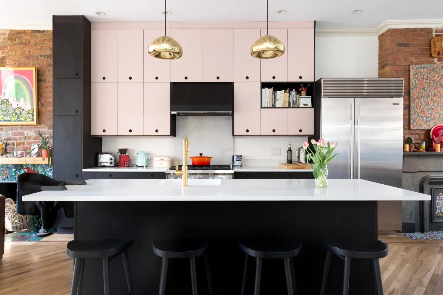 Pink Kitchen Paint Black And White Kitchen Design Inspiration Eclectic Kitchn