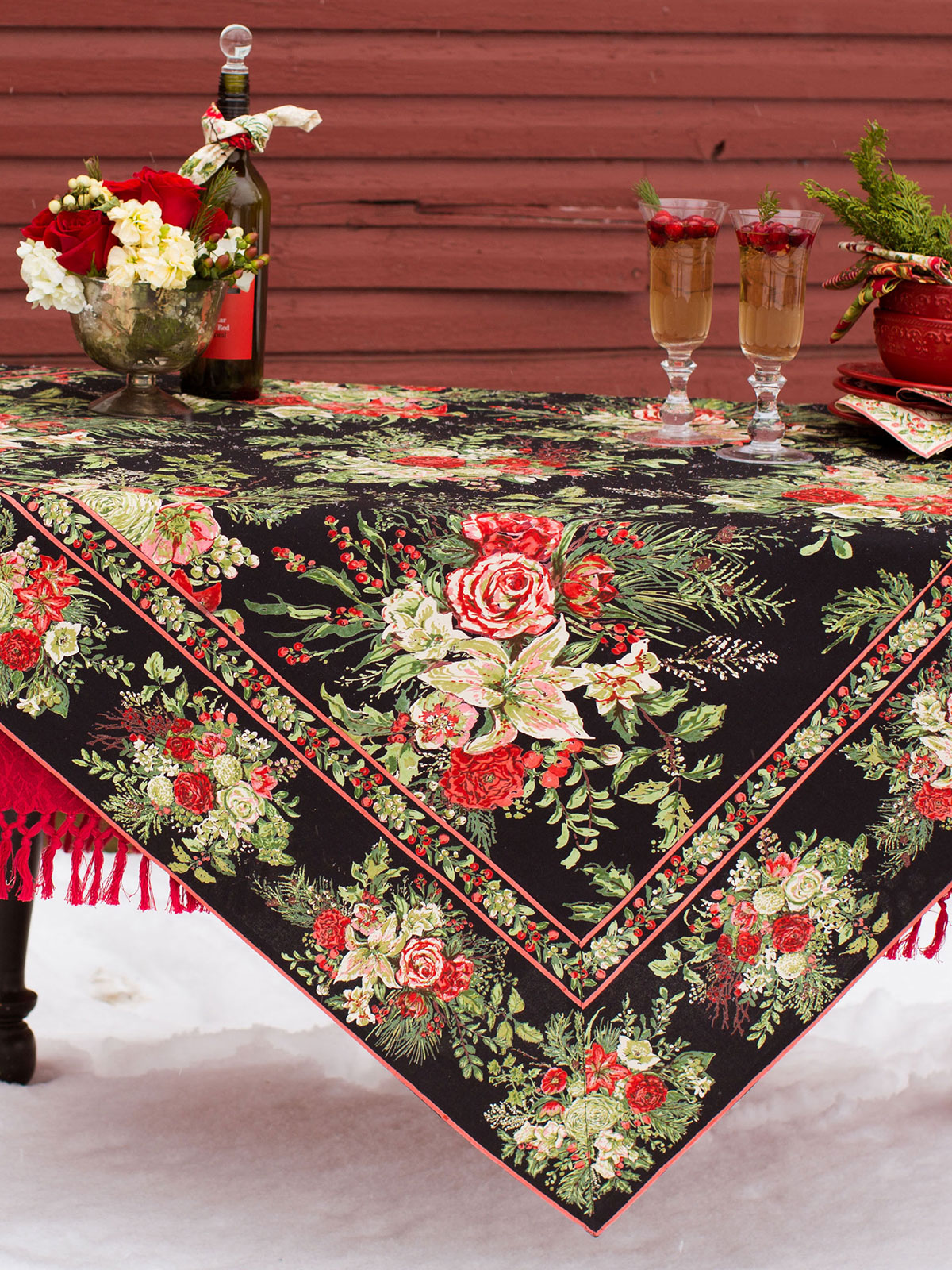 Tischdecken Weihnachten Merry Tablecloth - Black | Your Home, Christmas Forever