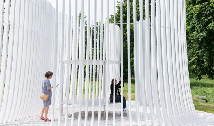 Serpentine Summer House 2016 designed by Asif Khan; (10 June – 9 October); Photo © Iwan Baan