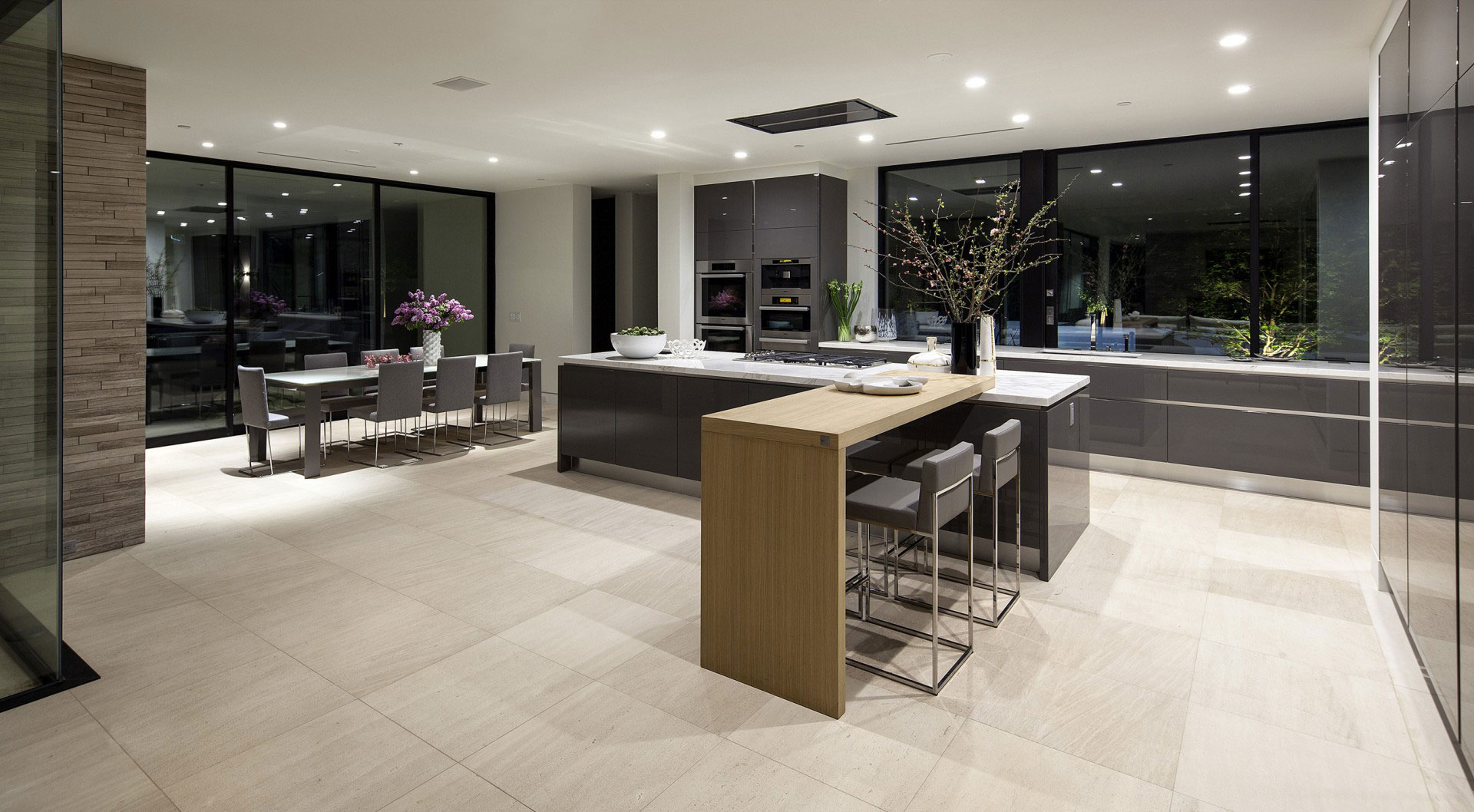 Waterfall Island In Kitchen San Vicente By Mcclean Design In California, Usa