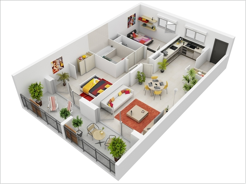 Desain Rumah Minimalis Type 36 90 10 Awesome Two Bedroom Apartment 3d Floor Plans