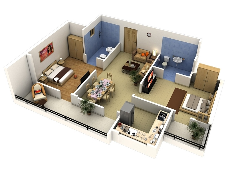 10 Awesome Two Bedroom Apartment 3D Floor Plans Architecture - 3d house plans