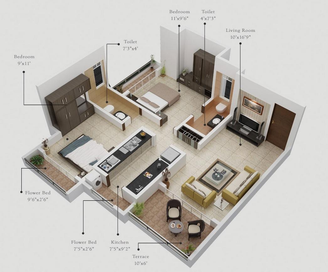 Fullsize Of One Bedroom Apartment Plan