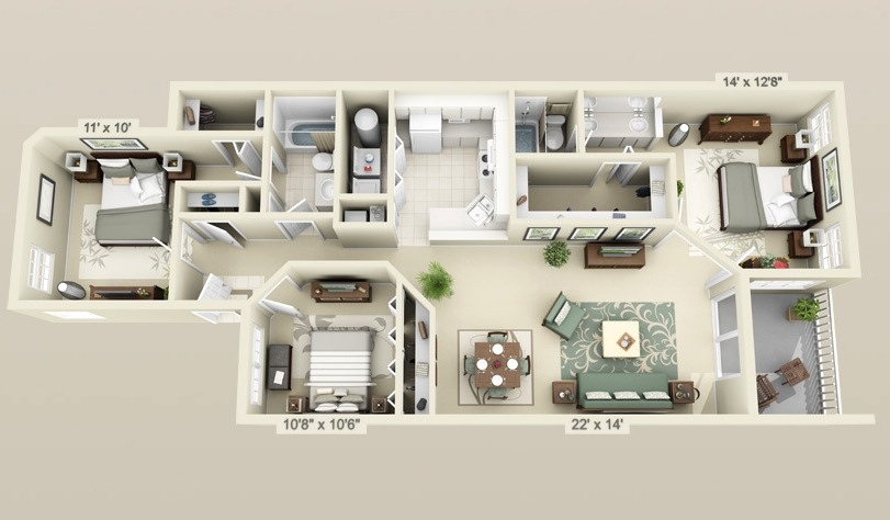 "Denah Villa Minimalis 50 Three ""3"" Bedroom Apartment/house Plans 