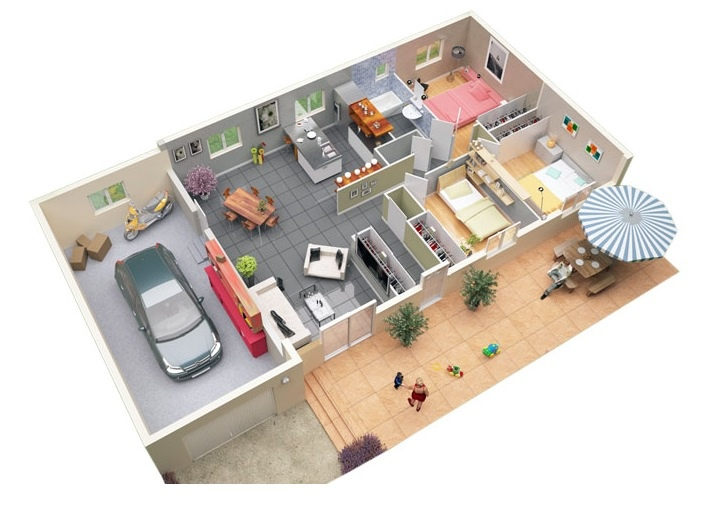 "Rumah 7x15 50 Three ""3"" Bedroom Apartment/house Plans 