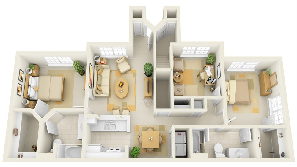 Home Design Small House Plan Three Bedroom Plans Pictures 3 Bedrooms 3d Of