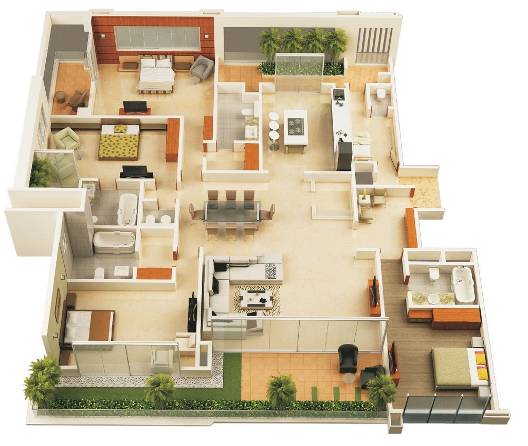 House Plans With Interior Photos 50 Four 4 Bedroom Apartment House Plans Architecture Design