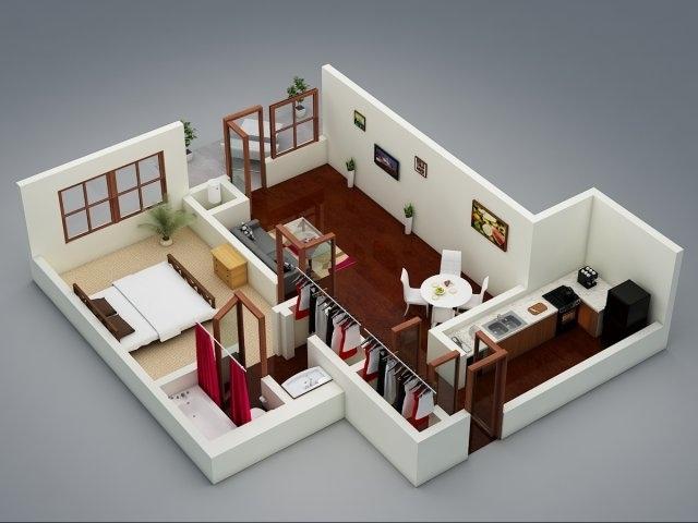 50 One u201c1u201d Bedroom Apartment\/House Plans Architecture \ Design - one bedroom house plans