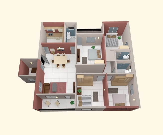 "4 Rooms 50 Four ""4"" Bedroom Apartment/house Plans 