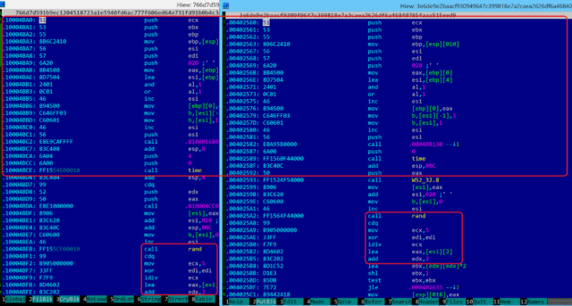 Red highlights show identical code shared between a February version of WCry and a 2015 backdoor used by Lazarus Group.