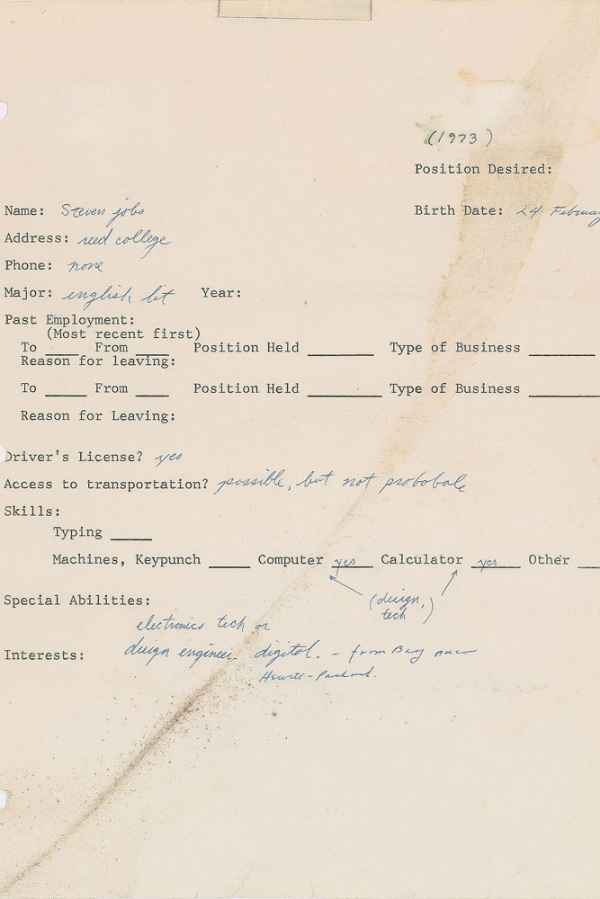 Steve Jobs\u0027 1973 job application fetches $174,000 at auction Ars - Job Application