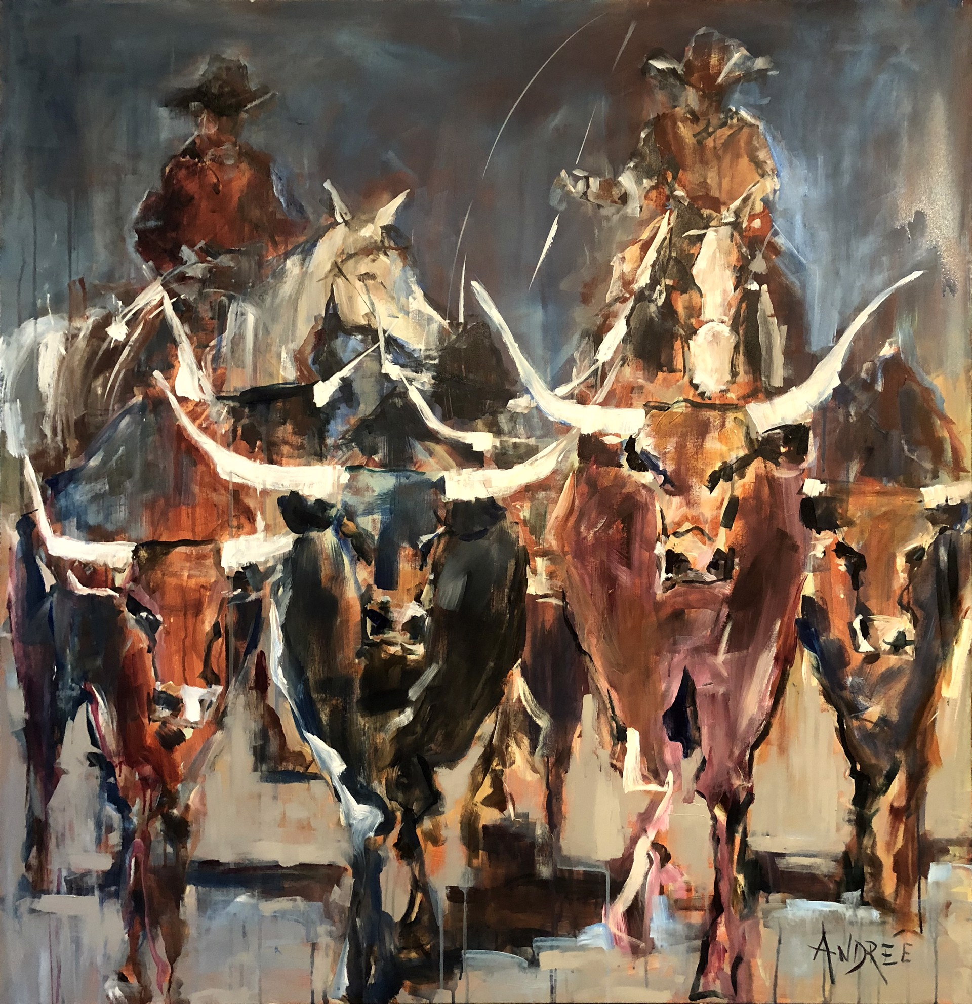 Moving The Herd By Andrée Hudson Canyon Road Contemporary Art