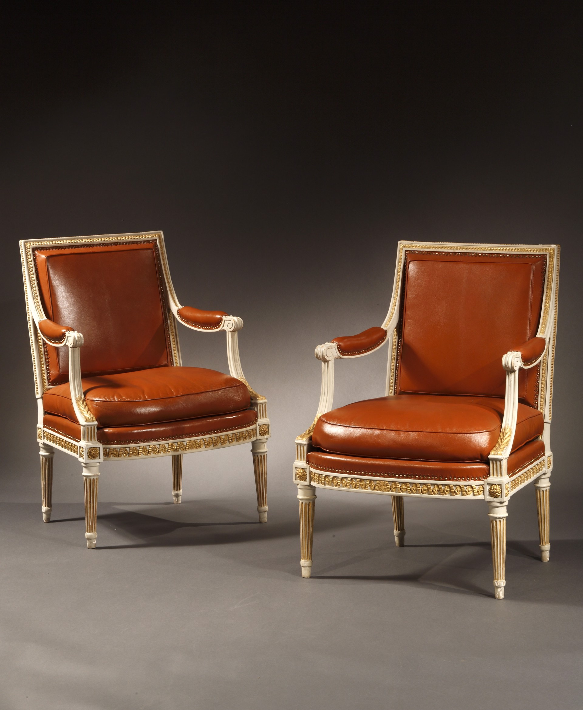 Pair Of Louis Xvi Painted And Parcel Gilt Fauteuils By H Jacob By Henri Jacob The Chinese Porcelain Company