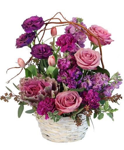 Purple Showers Basket Arrangement in Fort Branch, IN - RUBY\u0027S FLORAL