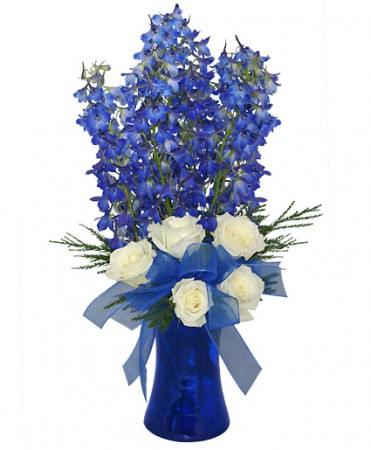 Brilliant Blue Bouquet of Flowers in Granger, IN - Yellow Rose Florist