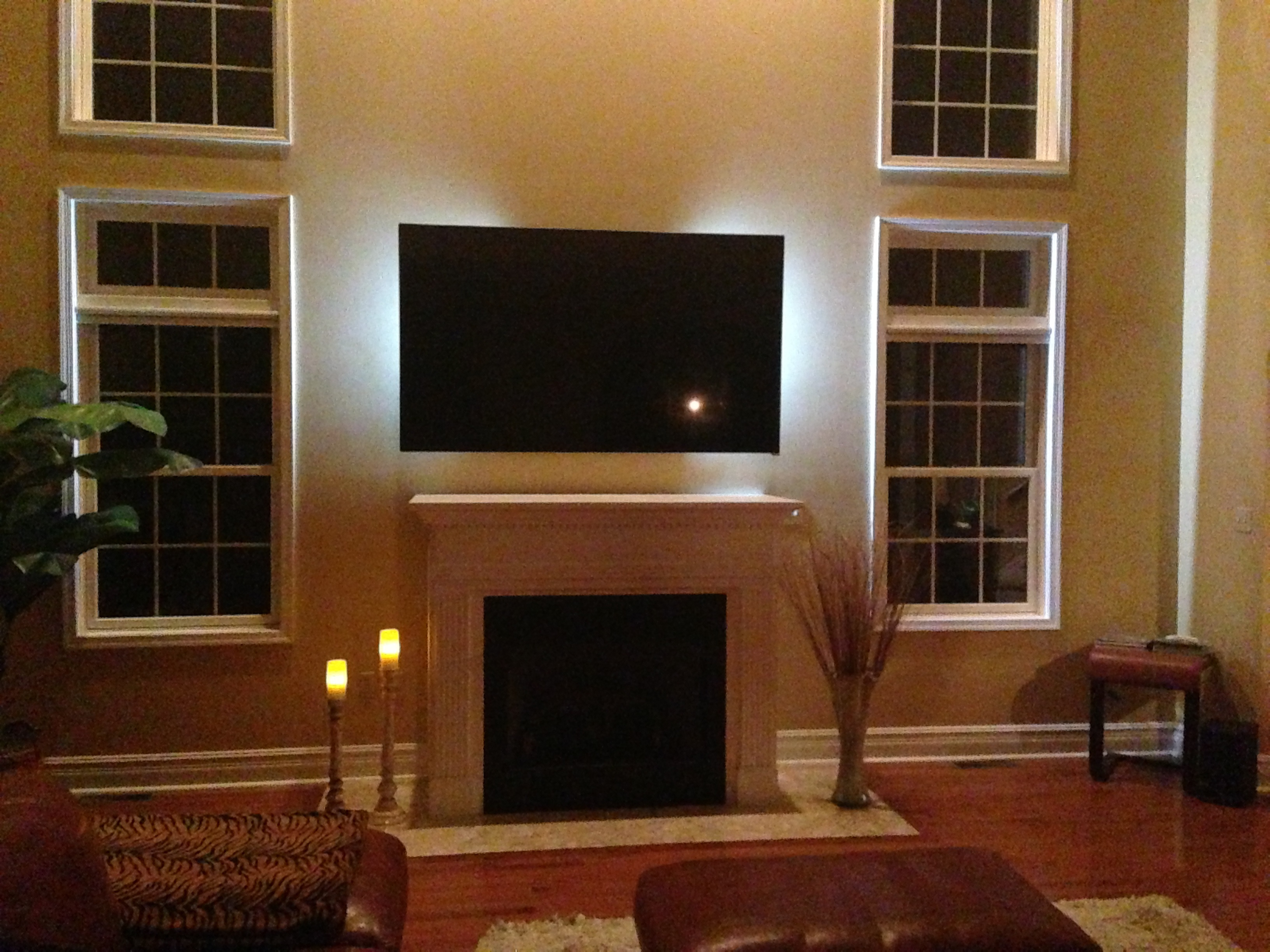Photos Of Tv Mounted Over Fireplace Which Sound Bar Getting Vizio 80 Quot Tv Avs Forum Home