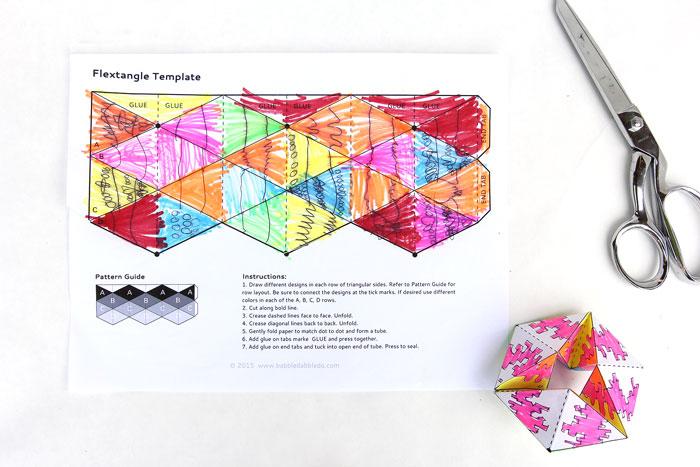 Paper Toy Flextangles - Babble Dabble Do - hexaflexagon template