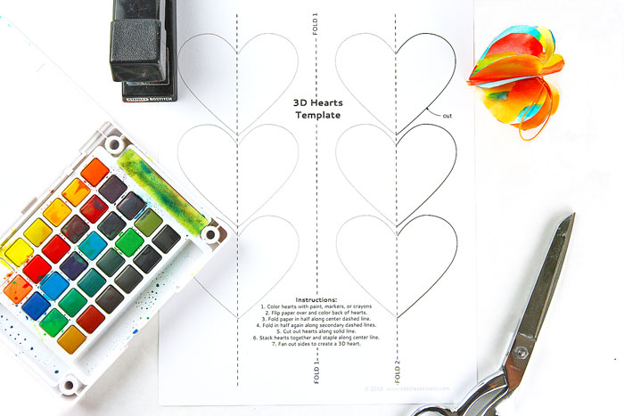 A Colorful 3D Paper Heart Craft for Valentine\u0027s Day - Babble Dabble Do