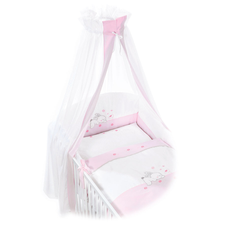 Easy Baby Bettwäsche Easy Baby Bettwäsche Komplett Set Rabbit Rosé