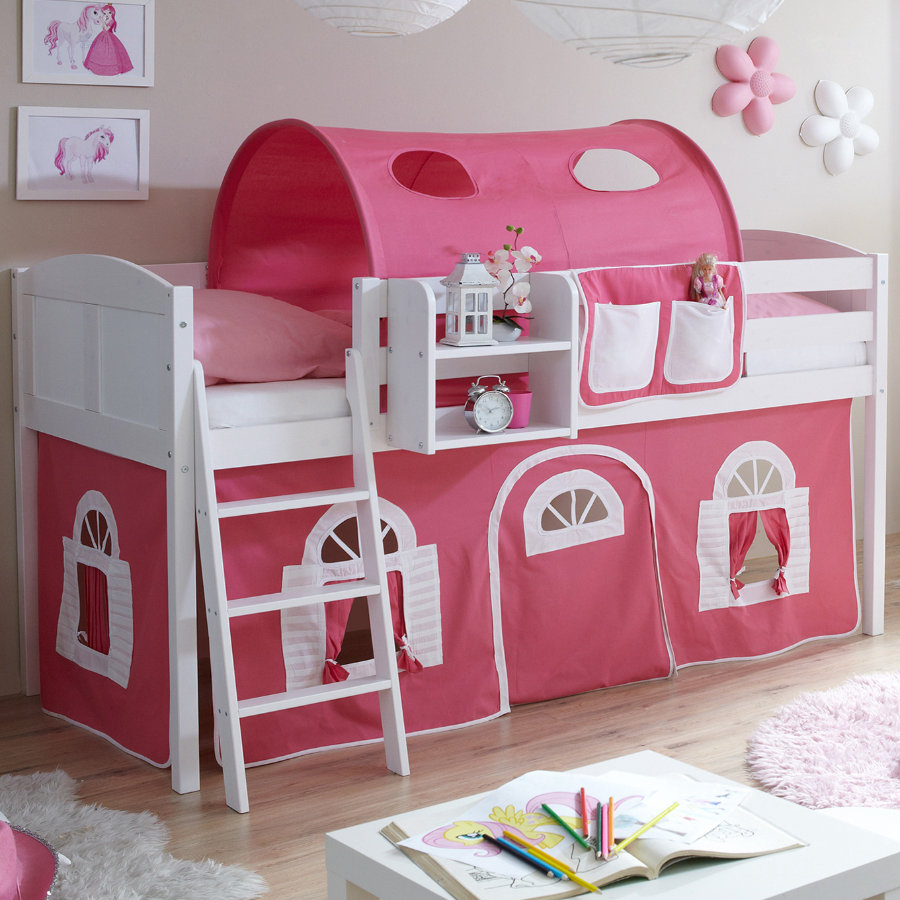 Habillage Lit Superposé Ticaa Lit Mezzanine Enfant Eric Country Pin Blanc Rose Blanc