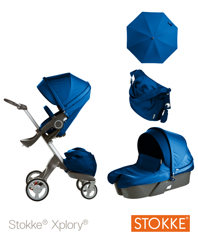 Stokke Stroller Changing Bag Exclusive Special Edition Xplory Cobalt Blue Back In Action