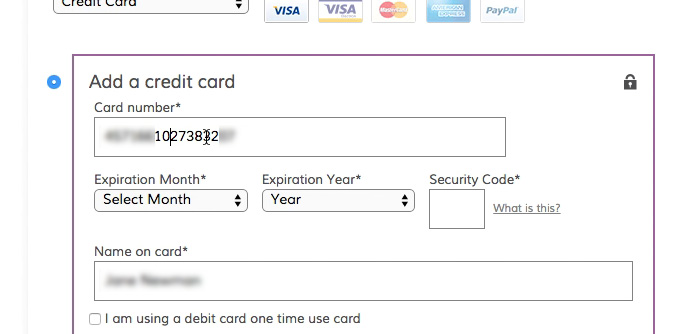 The \u0027Credit Card Number\u0027 Field Must Allow and Auto-Format Spaces (80