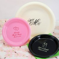 Personalized Round Wedding Plastic Plates