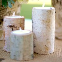 Rustic Log Tea Light Candle Holders