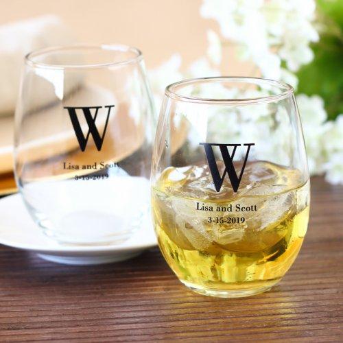 monogram wine glasses