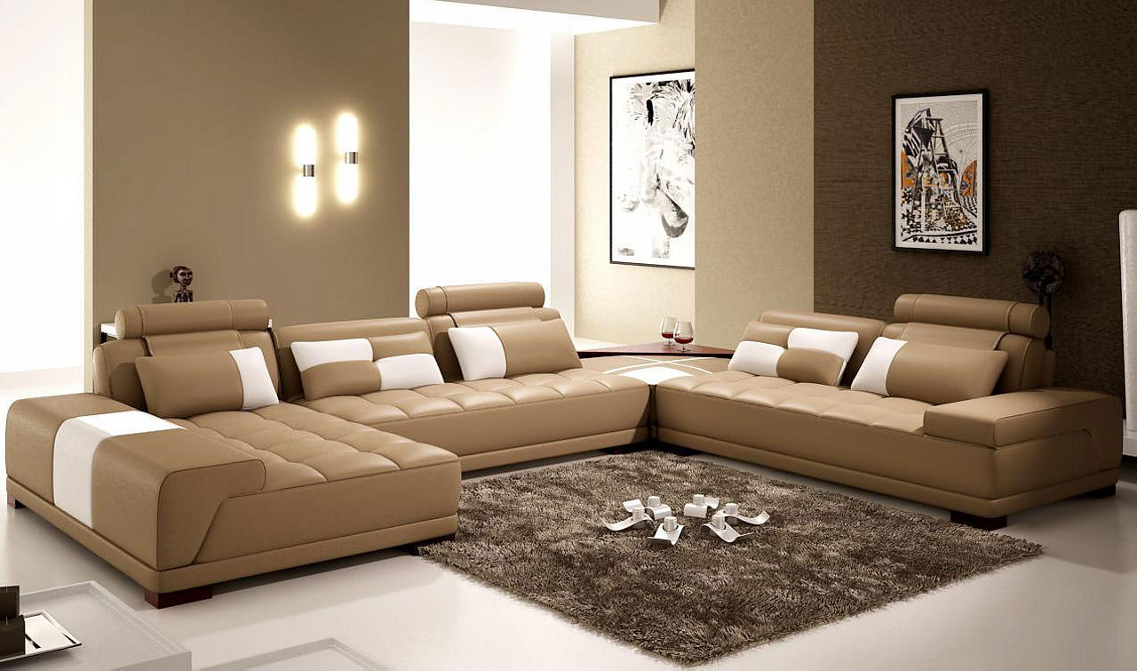The interior of a living room in brown color: features