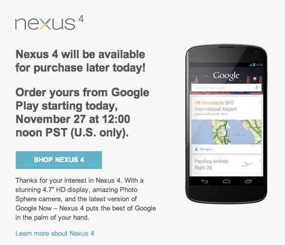Nexus 4 Shipments
