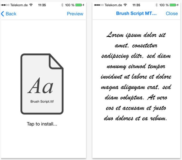 Custom Fonts iPhone iPad