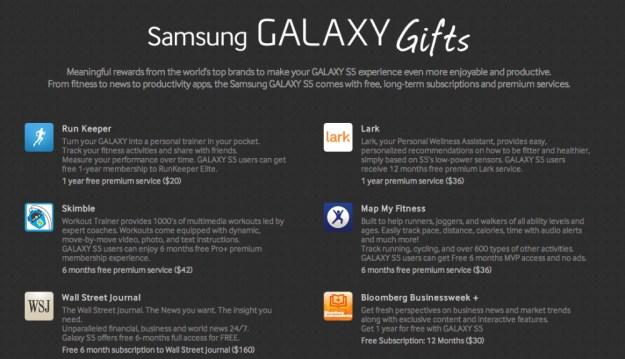 Galaxy S5 Free Apps Bonus Content