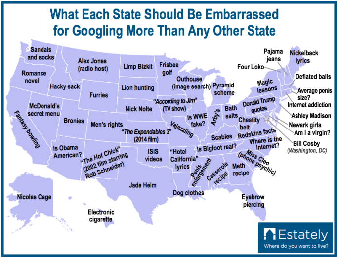 Most Embarrassing Google Searches By State