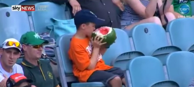 Kid Eating Watermelon Stadium