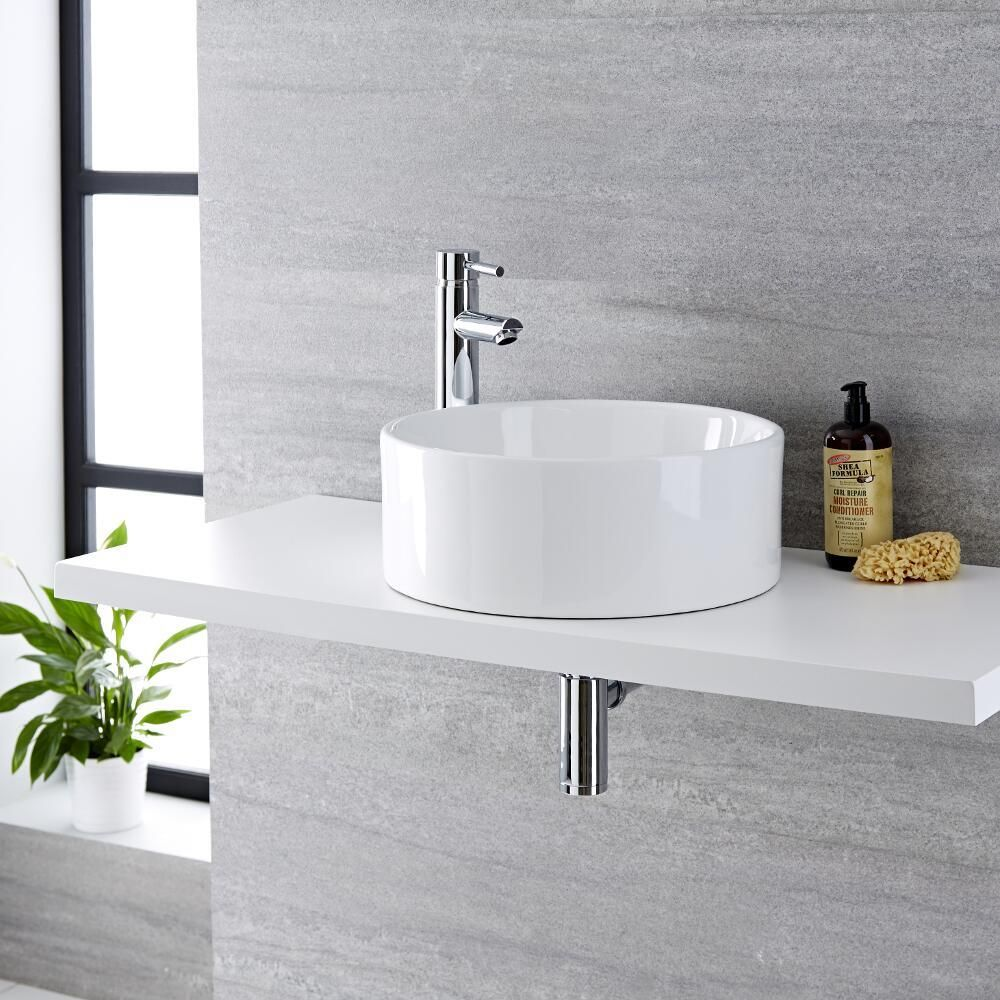 Aufsatzwaschbecken Installation Milano Ballam White Modern Round Countertop Basin With Deck Mounted High Rise Mixer Tap 400mm X 400mm