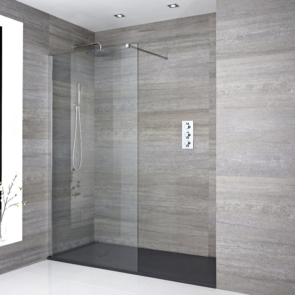 Walk In Duschwand Montieren Milano Portland Recessed Walk In Shower Enclosure With Slate Tray Choice Of Sizes