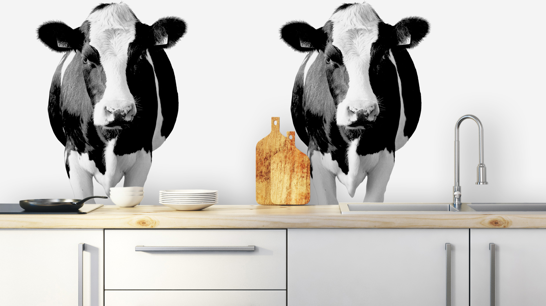 Achterwand Keuken Koeien Cows In Black And White | Pimp Your Kitchen