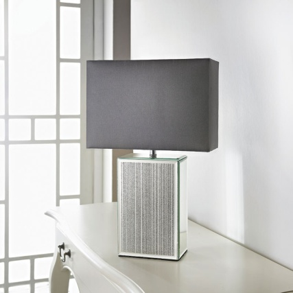 Glitter Animal Print Wallpaper Mirror Glitter Table Lamp Silver Home Decor Lighting